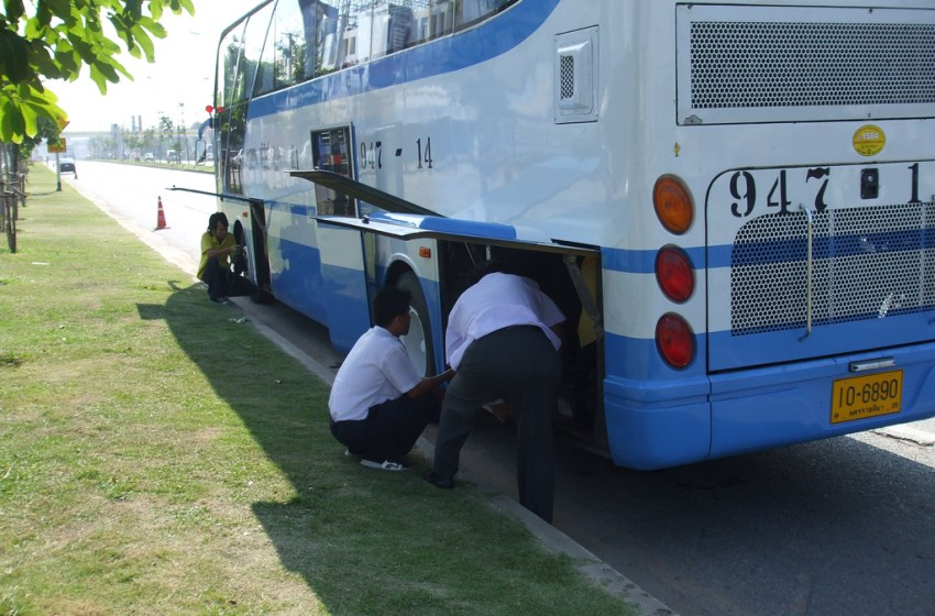 Broken down bus being repaired in Nakhon Ratchasima province