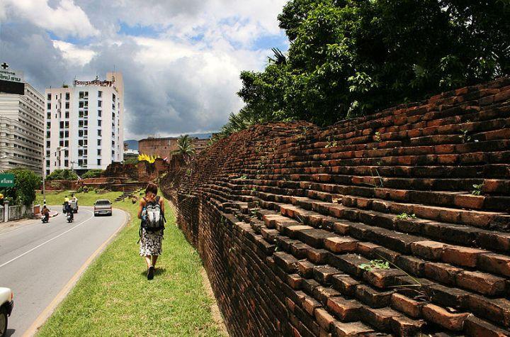 Ancient walls around Chiang Mai old city.