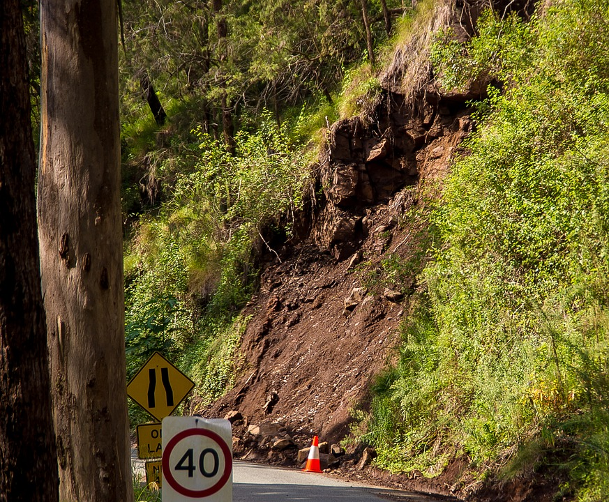 Mountain run-off on a road caused by floods