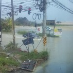 Flooded area in Sri Racha District, Chon Buri
