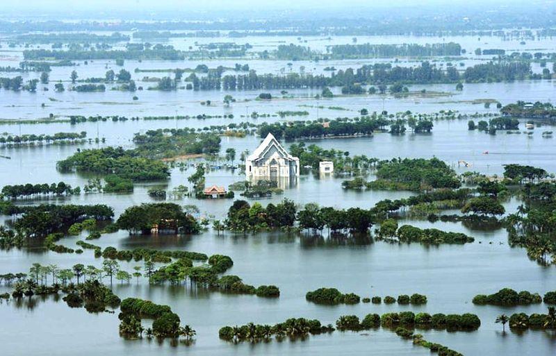 The Chao Phraya river flooding a large area near Bangkok