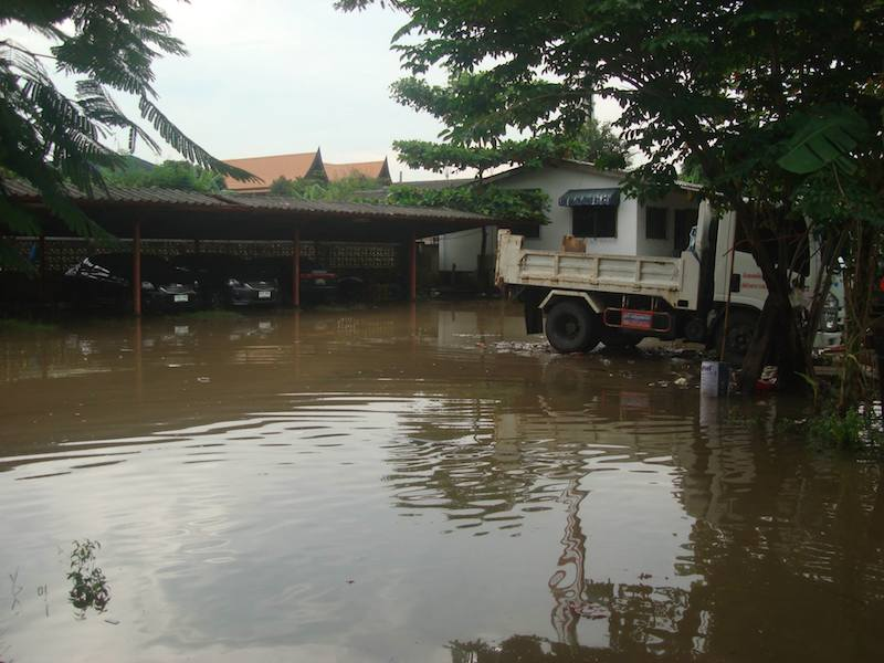 Truck on a flooded area