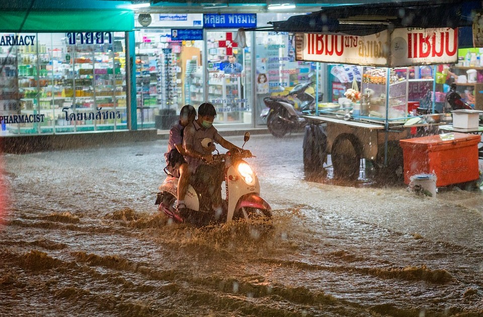 Flooded street in Thailand