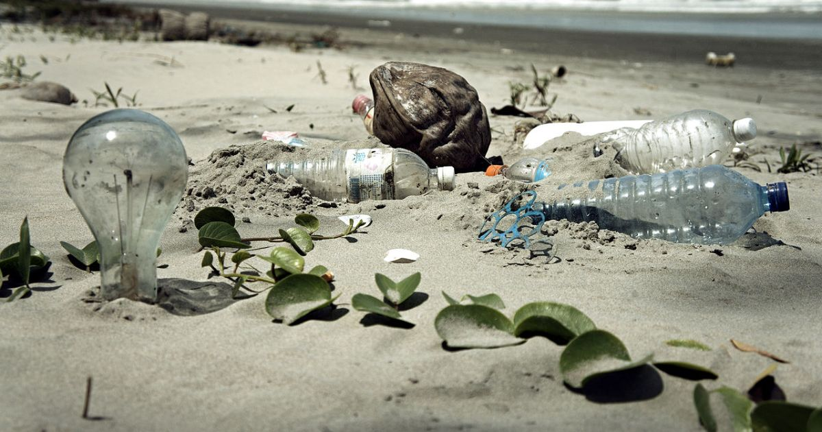 Plastic bottles and waste at the garbage beach of Malaysia