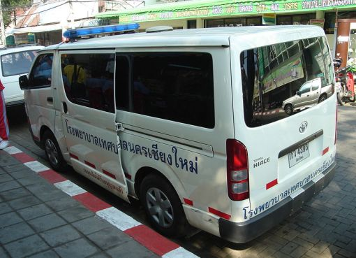 Rear view of a Toyota ambulance in Chiang Mai