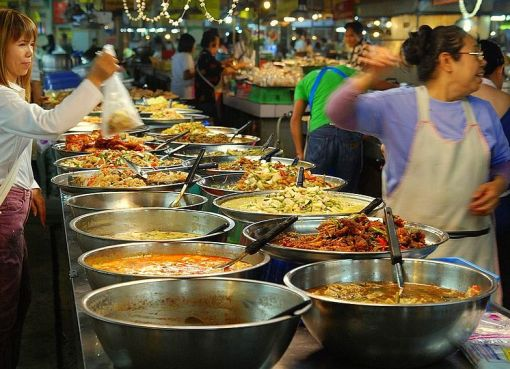 Market stall, at Thanin market in Chiang Mai, selling food
