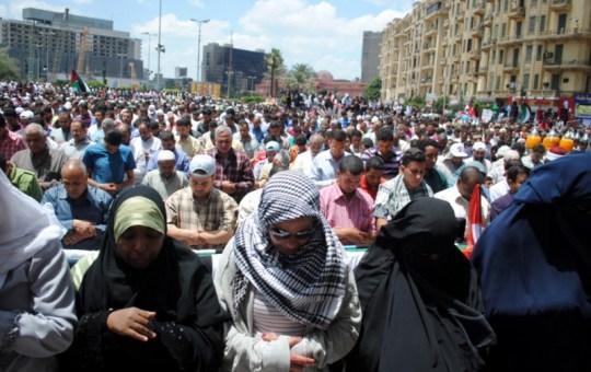 Muslim Friday prayer in Tahrir Square, Egypt