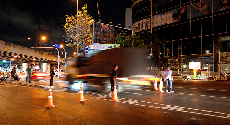 Thai police checkpoint in Bangkok