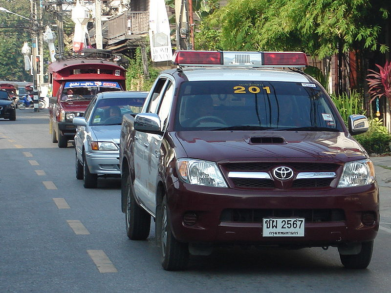 Police pick up truck in Chiang Mai, Thailand