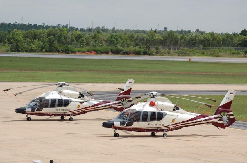 Eurocopter EC.155s of the Royal Thai Police at Khon Kaen airport