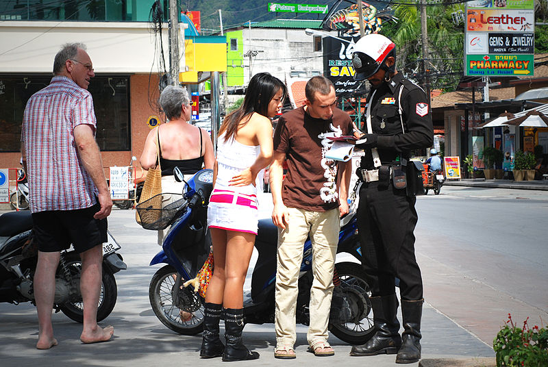 Thai police control in Phuket