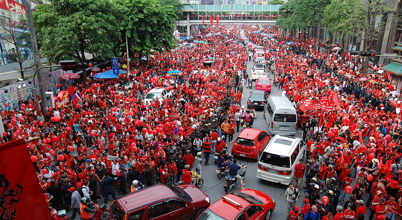 Red Shirt protest at Ratchaprasong intersection in Bangkok. The red shirts organised mass rallies across Thailand to mark the ousting of former Thai prime minister Thaksin by a military coup 4 years ago, and to commemorate the final day of the military crackdown on their protests 4 months ago