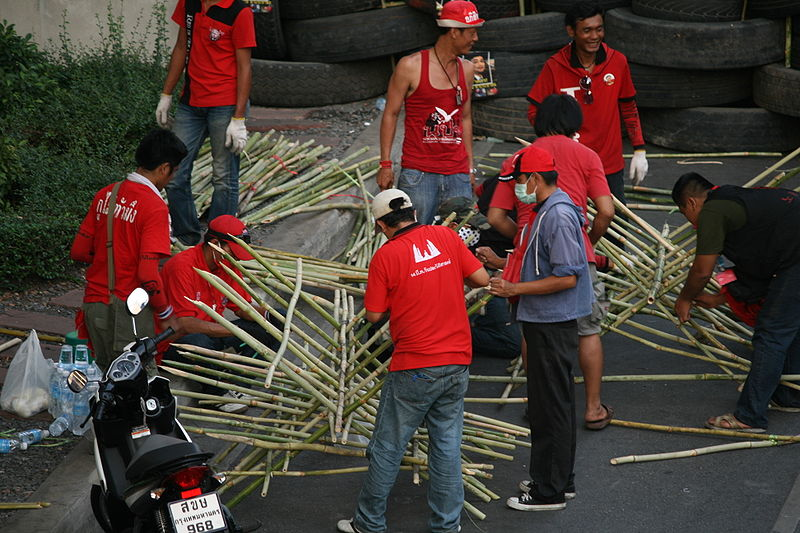 Red Shirts building a bamboo barricade on 14th May 2010 at the protest site in Bangkok