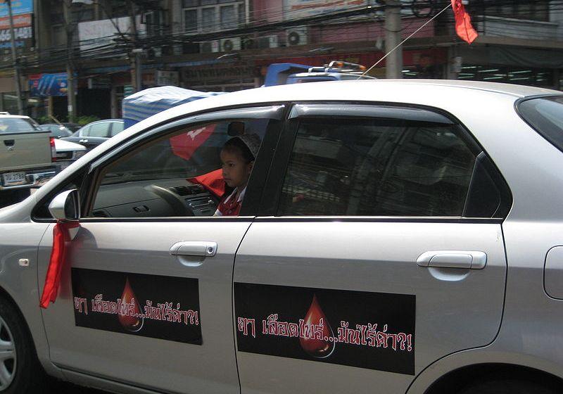 Red shirt (UDD) car in Thailand