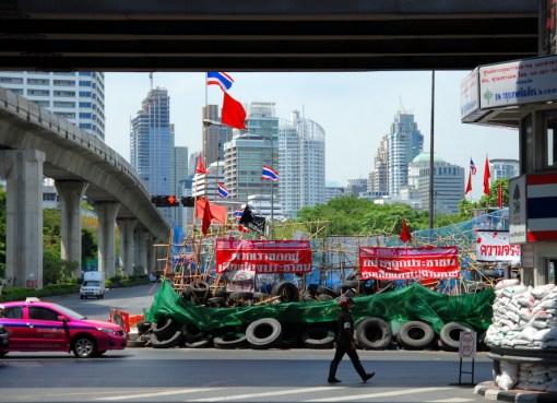 Red Shirt barricades in Bangkok