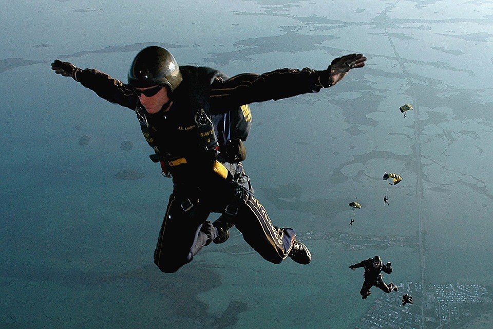 Skydivers jumping out of a plane