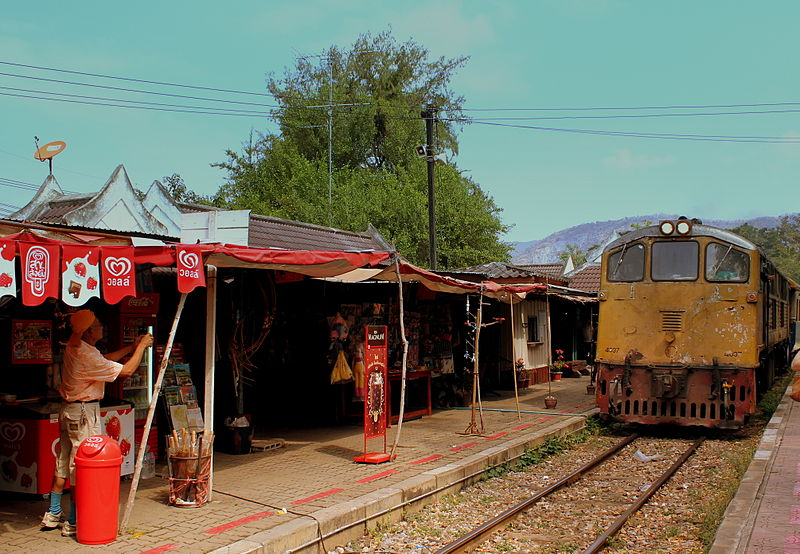 Train arriving at Kanchanaburi railway station