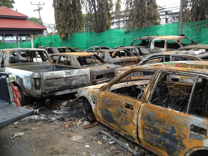 Burnt out cars in Thailand's restive South