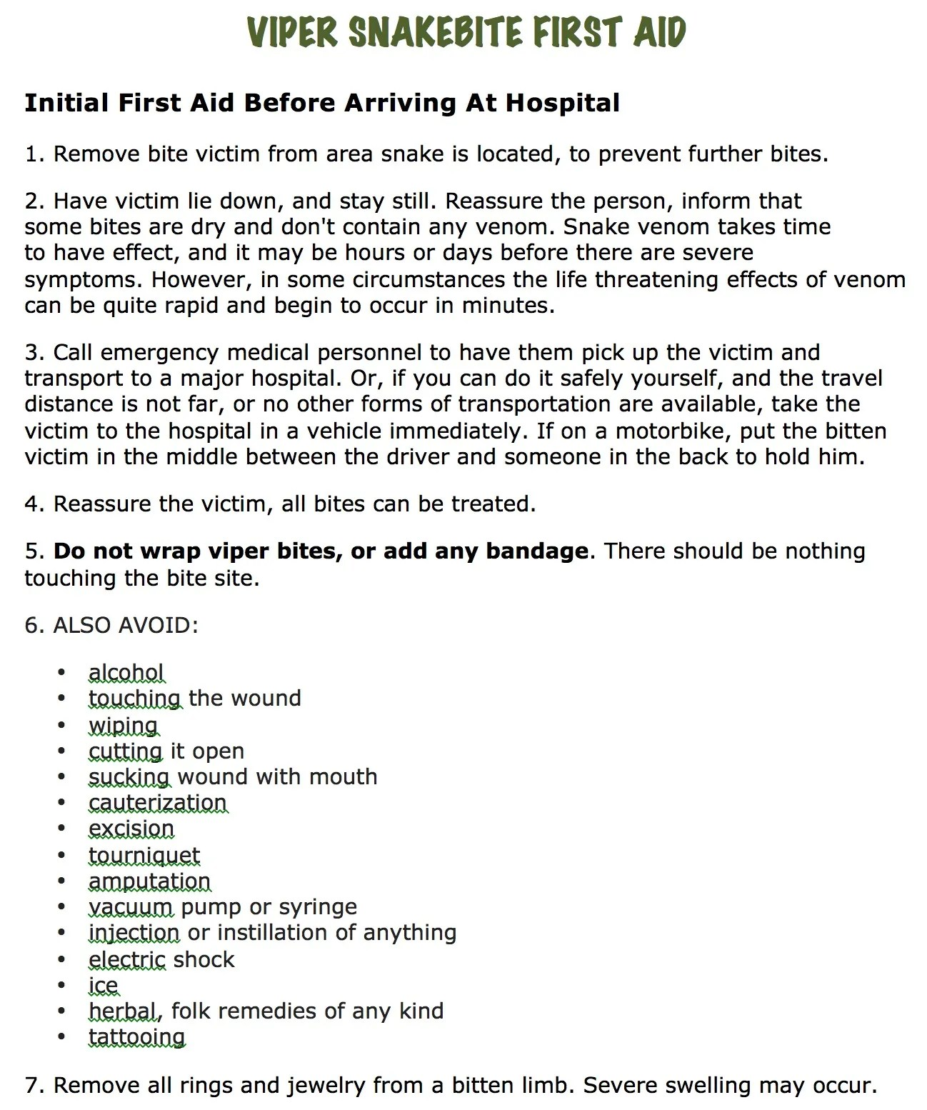 Initial First Aid Instructions For Pit Viper Snakebite In