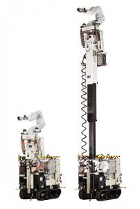 หุ่นยนต์สำรวจที่สูง ฐานด้านหลังผลิตโดย AIST และ แขนกลผลิตโดยฮอนด้าด้วยเทคโนโลยีที่ใช้ในหุ่นยนต์คล้ายคน