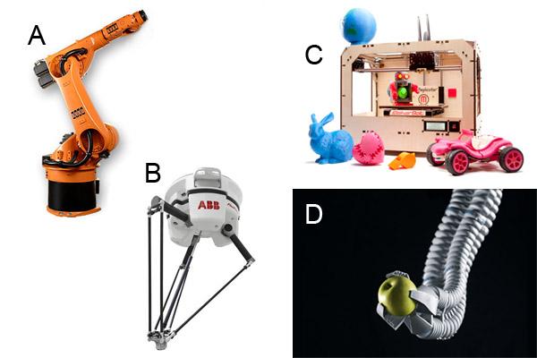 A) แขนกลหุ่นยนต์แบบ 6 องศาอิสระ จาก KUKA, B) แขนหยิบแบบ delta robot จาก ABB, C) เครื่องพิมพ์สามมิติ จาก MakerBot, D) แขนแบบงวงช้าง จาก Festo