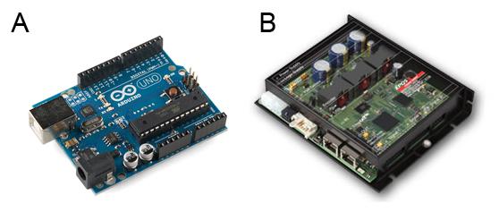 A) บอร์ดไมโครคอนโทรลเลอร์ Arduino, B) วงจรควบคุมมอเตอร์ของ Maxon