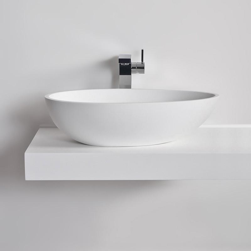 Vasque A Poser Ovale En Solid Surface Cocoon 60 X 35 Cm