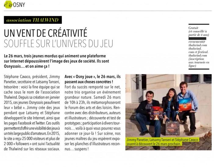 Thalwind dans le magazine presse d'InfOsny Mars 2016