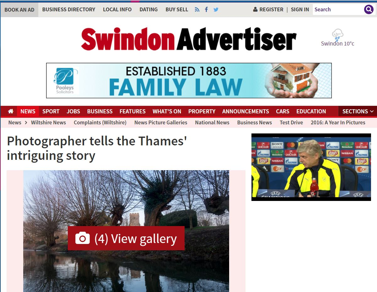 "Swindon Advertiser ""Photographer tells the Thames' intriguing story"""