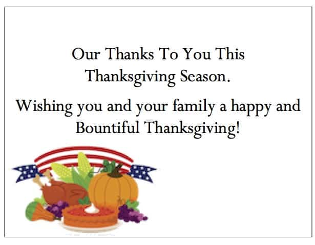 Business Thanksgiving Cards Of Appreciation