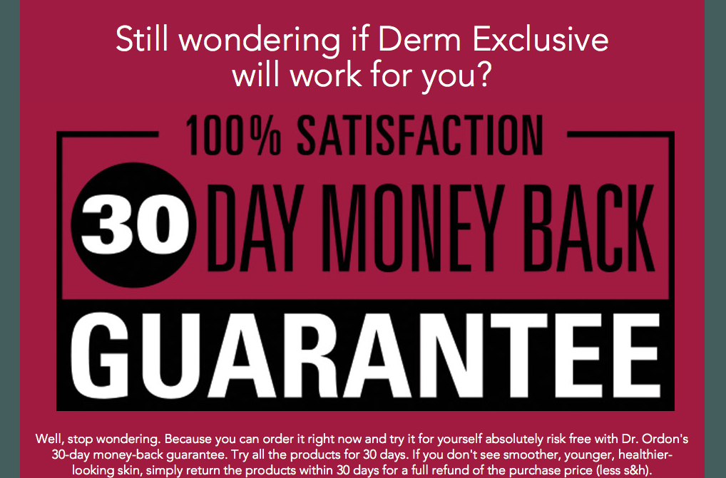 Derm Skin Care Guarantee