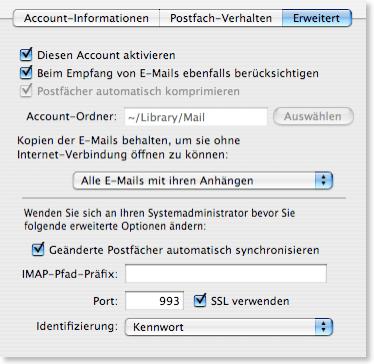 Apple Mail IMAP Erweitert