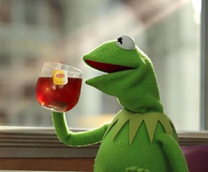 "Owner of Kermit The Frog Says ""BLACK PEOPLE FIND A WAY TO ...Kermit Drinking"
