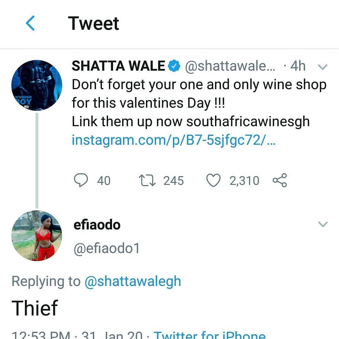 shatta wale thief