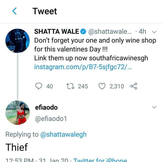 shatta wale thief