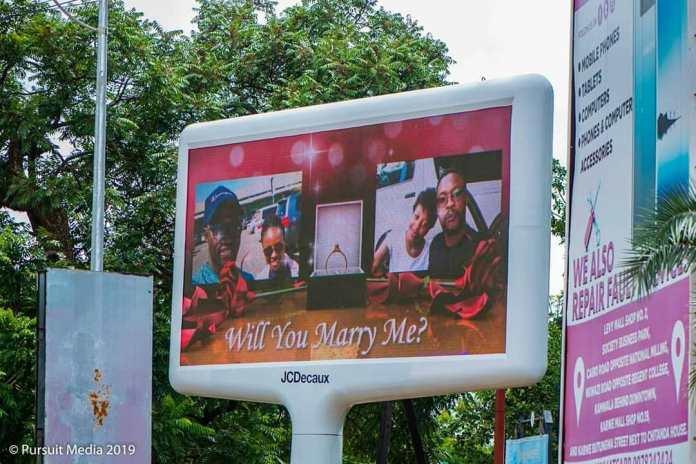 Zambian Man Hires Electronic Bill Board To Propose To Beautiful Lady