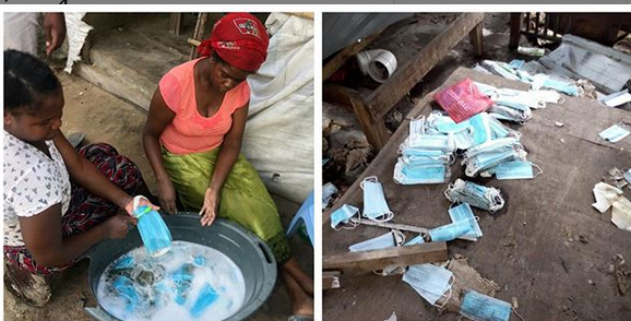 Two women caught washing used facemask