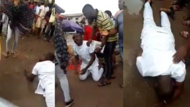 Man breaks down in tears and rolls in the mud after his girlfriend rejected his marriage proposal in Public