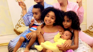 Lovely photos of Regina Daniels with her co-wife and their kids