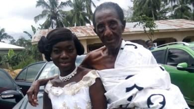 Akua Asabea, 35 and her 97-year-old husband, Akwasi Gyan a.k.a. Agyaba