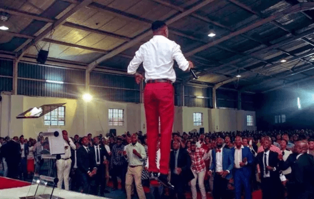 Shocking Image Of Pastor Floating In Church Like Bushiri Surfaces