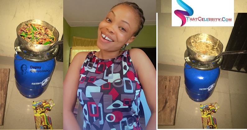 Female University student steals Indomie at School Hostel.