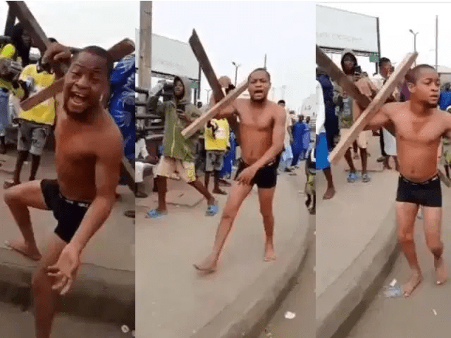 I don't want to die again – Drama as African Jesus runs away with cross as he is beaten during Easter