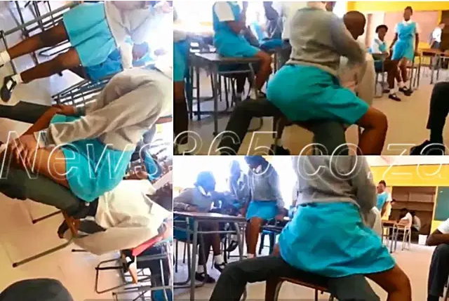 School girls sexually dancing on a Boy in the classroom