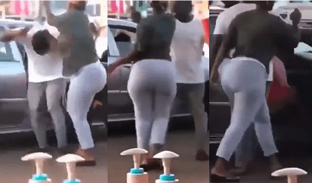 Drama as woman throws her husband's side chick out of their car