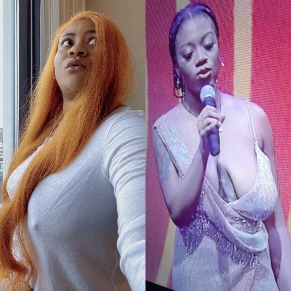 Nkechi Blessing Sunday goes braless to defend BBNaija's Angel who has been shamed for the shape of her breasts