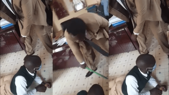 Form one student at St Joseph SHS beaten like a thief after invading the kitchen and stealing 65 loaves of bread (VIDEO).