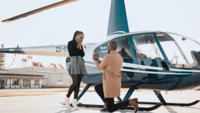 Reactions as a man hires a chopper to propose to his beautiful girlfriend – Will this end in tears? SHARON MUNDIA knows better (PHOTOs).