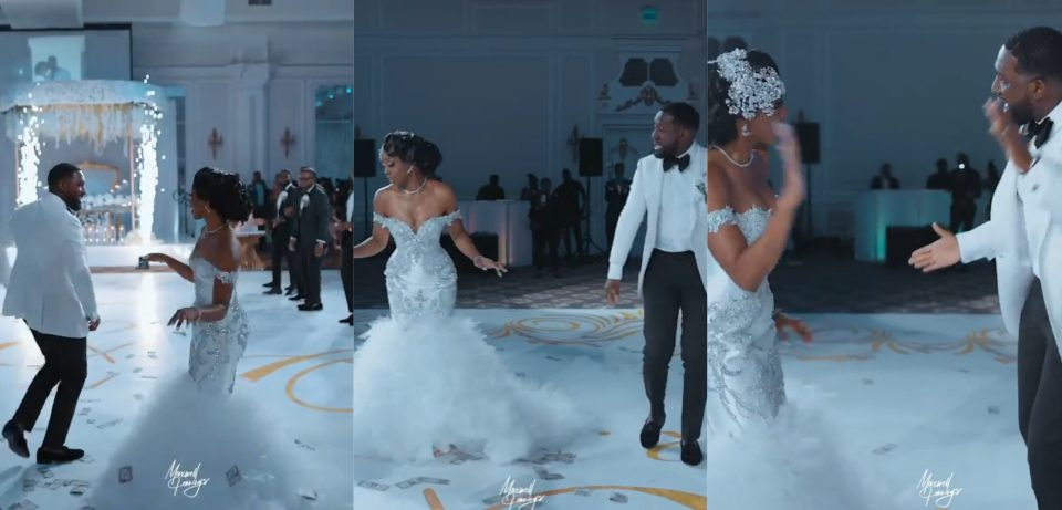 Groom showers bride with money as she flaunts impressive dance moves
