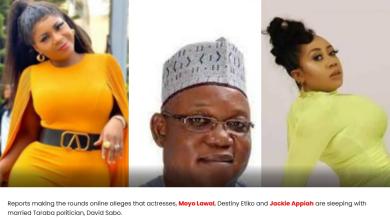 Moyo Lawal, Destiny Etiko, Jackie Appiah allegedly Taraba politician, David Sabo's sugar babies